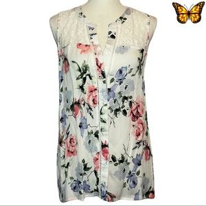 Kismet Sleeveless Floral Print Lace Insert Top Size Extra Small